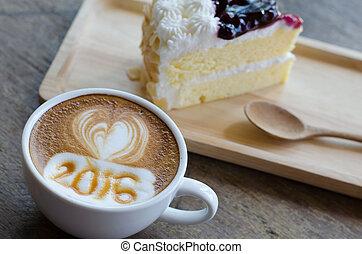 café, arte, Padrão, espuma, quentes,  2016, leite
