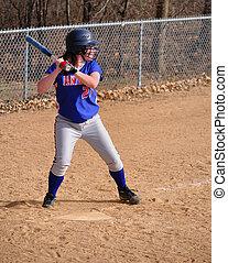 青少年, 女孩, 壘球, 表演者, 用球棒打