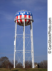 Patriotic Red, White, & Blue American Water Tower with Stars...