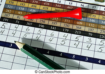 Golf Score Card with Red Tee and Green Pencil, horizontal