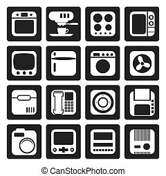 Home and Office, Equipment Icons - Black Home and Office,...