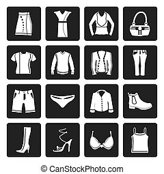 Clothing and Dress Icons - Black Clothing and Dress Icons -...