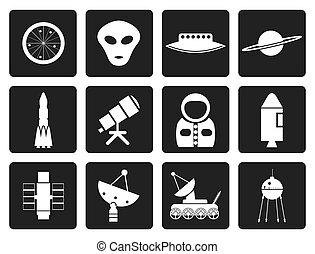 Astronautics and Space Icons - Black Astronautics and Space...