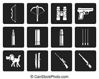 Black Hunting and arms Icons - Vector Icon Set