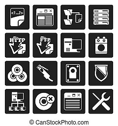 Black Server Side Computer icons - Vector Icon Set