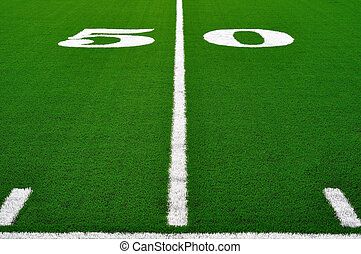 50 Yard Line on American Football Field, Copy Space