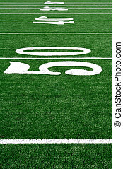 50 Yard Line on American Football Field, Copy Space,...