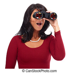 Business woman with binoculars Isolated on white background...