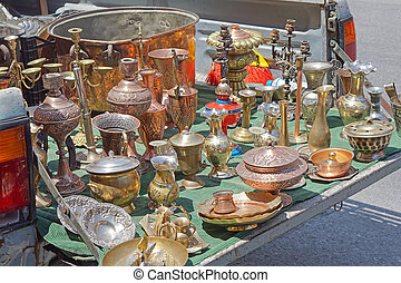 Tailgate sale - Antique brass bronze and silver objects for...