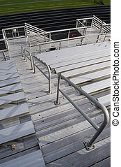 Bleachers - On top of bleachers with steps and rails