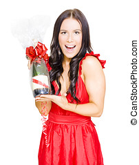 Woman Celebrating Success With Champagne Bottle - Happy...