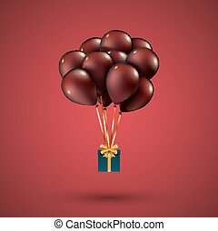 Red balloons raised a gift box. Depicted on red background. EPS 10
