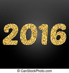 Happy New Year 2016 gold disco lights frame. Vector illustration eps 10