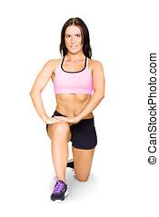 運動選手, 伸張, 隔離された, 女性, 練習, 前に