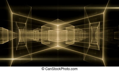 Golden geometrical horizon - Dynamic yellow translucent...