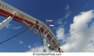 Flag fluttering in the wind on the rides at Pacific...