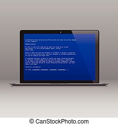 Business laptop with OS critical error message - Business...