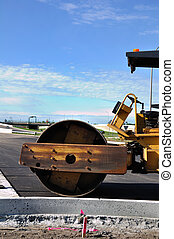 Steamroller at Road Construction Site, Copy Space, Vertical