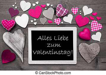 Black And White Chalkbord, Pink Hearts, Valentinstag Means...