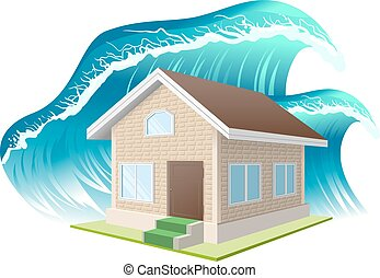 Property insurance Flood Wave washes away home Illustration...