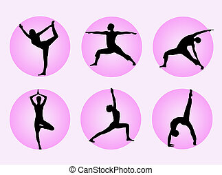 Yoga poses - Different yoga poses in silhouette to represent...