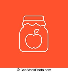 Apple jam jar line icon. - Apple jam jar line icon for web,...