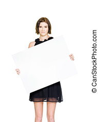 Stocktake Clearance Sale - Female Holding Board Or Sign On A...