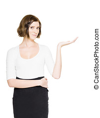 Retail And Product Advert - Young Business Woman Holding Out...