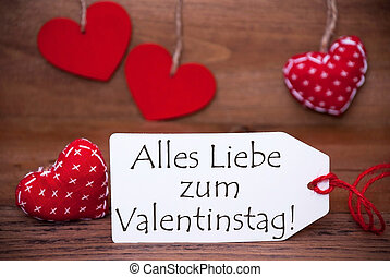 One Label With Romantic Hearts Decoration, Valentinstag...