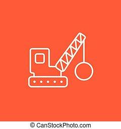 Demolition crane line icon - Demolition trailer line icon...
