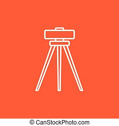 Theodolite on tripod line icon - Theodolite on tripod line...