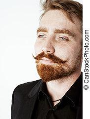 joven, rojo, pelo, hombre, con, Barba, y, bigote, en, negro,...