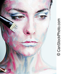woman with creative make up - young woman with creative make...