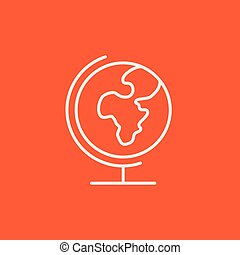 World globe on stand line icon. - World globe on stand line...
