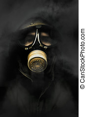 Soldier In Gas Mask - Soldier Standing In The Dead Of Night...