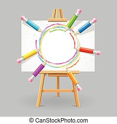 Wooden Easel and Pencil Absrtact Background Vector...