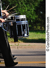 Drummers Playing Snare Drums in Parade, Copy Space, vertical