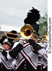Marchar, banda, artista, juego, trombón, desfile
