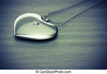 Diamond heart necklace on the table 3d rendering.