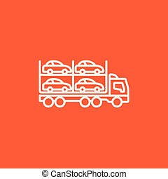 Car carrier line icon. - Car carrier line icon for web,...