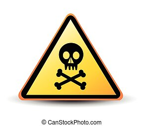 vector danger sign with skull