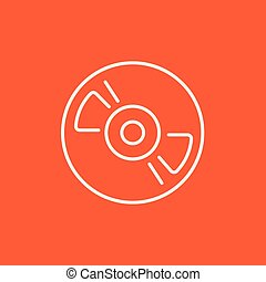 Reel tape deck player recorder line icon - Reel tape deck...