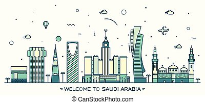 Skyline Saudi Arabia Trendy vector linear style - Skyline...