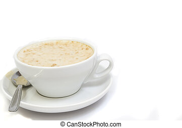 yummy capuccino - white cup of capuccinno isolated on white...