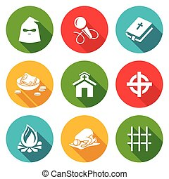 False religion, sect Icons Set. Vector Illustration. -...