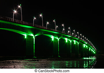 Viaduct under green lights - Brightly Illuminated Viaduct at...