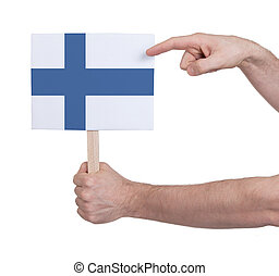 Hand holding small card - Flag of Finland - Hand holding...