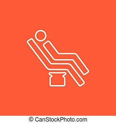 Man sitting on dental chair line icon - Man sitting on a...