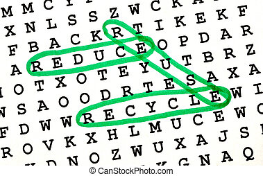The Words REDUCE, REUSE, RECYCLE on Word Search Puzzle...