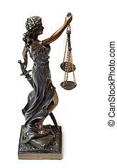 justitia - Statue from a justitia. Full isolated on white....